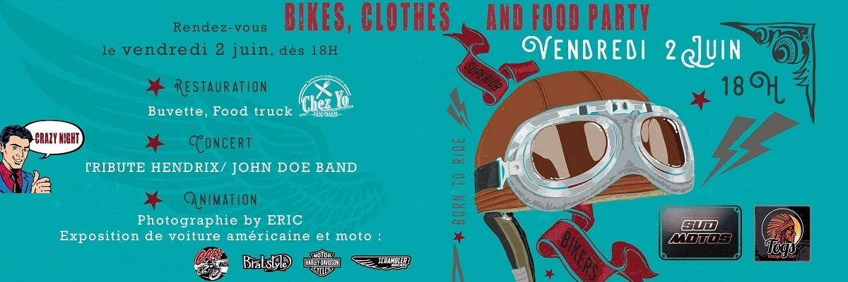 BIKES, CLOTHES AND FOOD PARTY